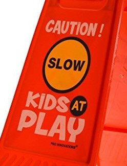kids playing safety sign